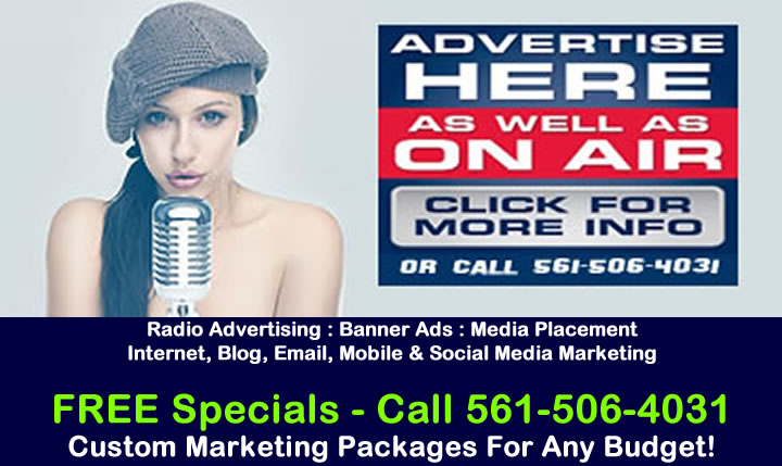 FREE Advertising Specials - Call 561-506-4031 Now.  Marketing Packages For Any Budget!